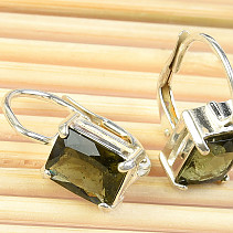 Moldavite earrings polished rectangle 8 x 6mm Ag 925/1000