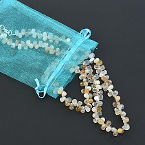 Gift set of agate jewelry + ulexite bracelet + necklace 51cm zipper pearls