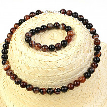 Gift set of agate jewelry sardonyx bracelet + necklace 52cm balls