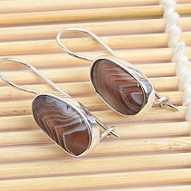 Silver earrings with agate Ag 925/1000 3.9g 31mm