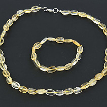 Gift set of citrine jewelry bracelet + necklace of 50cm trombled oval