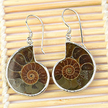 Silver earrings with ammonite Ag 925/1000 7.6g