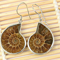 Silver earrings with ammonite Ag 925/1000 8.2g