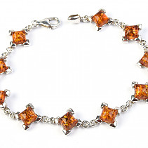 Ladies silver bracelet with amber stones 19cm Ag 925/1000 12.10g
