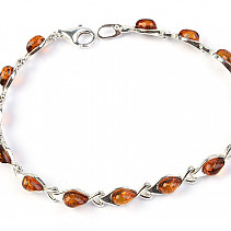Ladies silver bracelet with amber stones 18cm Ag 925/1000 6.89g
