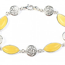 Silver bracelet with amber 18.5cm Ag 925/1000 TYP2867