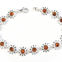 Ladies silver bracelet with amber stones 19cm Ag 925/1000 8.45g