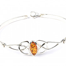 Silver bracelet with amber solid 16.5cm Ag 925/1000 TYP2898