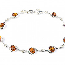 Ladies silver bracelet with amber stones 18cm Ag 925/1000 5.91g