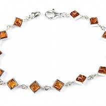 Ladies silver bracelet with amber stones 18.5cm Ag 925/1000 5.89g