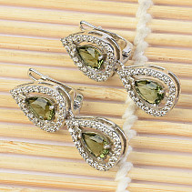 Moldavite and zircons earrings two drops 7 x 5 mm standard cut Ag 925/1000 + Rh