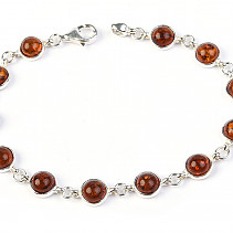 Silver bracelet with amber 18cm Ag 925/1000 TYP2890