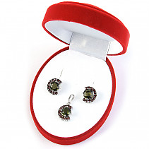 Luxury set of moldavite jewelry with Ag 925/1000 Rh garnets
