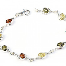 Silver bracelet with amber 18cm Ag 925/1000 TYP2887