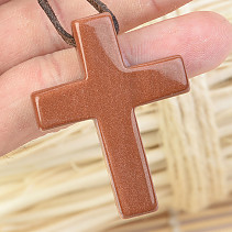 Avanturin Synthetic Cross Pendant on Leather 12.4g