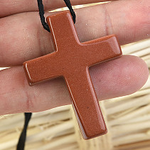 Avanturin Synthetic Cross Pendant on Leather 13.09g