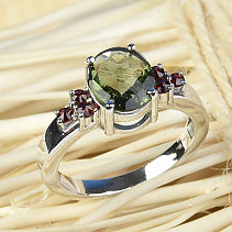 Moldavite and garnets ring oval 10 x 8mm checker top Ag 925/1000 + Rh