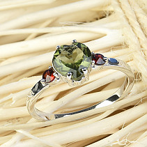 Moldavite and garnets heart ring 7 x 7mm standard Ag 925/1000 + Rh