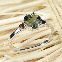 Moldavite a garnety ring heart 7 x 7mm checker top Ag 925/1000 + Rh