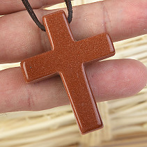 Avanturin Synthetic Cross Pendant on Leather 13.0g
