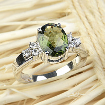Moldavite and zircons ring oval 10 x 8mm checker top Ag 925/1000 + Rh
