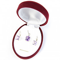 Amethyst jewelery gift set cut Ag 925/1000