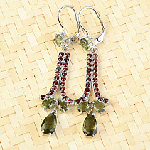 Extra earrings with moldavites and garnets Ag 925/1000 + Rh