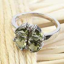 Moldavite and zircons ring flower 12mm Ag 925/1000 + Rh