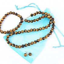 Tiger eye jewelry set of beads- necklace 48 cm + bracelet + earrings