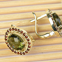 Moldavite and garnets earrings gold oval checker top Au 585/1000 5.76g