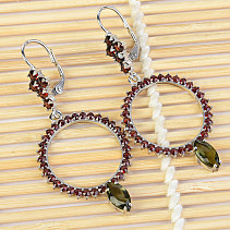 Flower earrings and garnet earrings extra standard cut Ag Ag 925/1000 + Rh