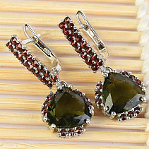 Moldavite and garnets earrings luxury standard Ag 925/1000 + Rh