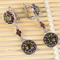 Flowers and garnets earrings round 5 mm round Ag 925/1000 + Rh