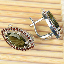 Moldavite and garnets earrings tear 12 x 6 mm standard Ag 925/1000 + Rh