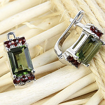 Moldavite and garnets earrings rectangle 8 x 6mm standard Ag 925/1000 + Rh