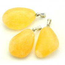 Calcite yellow pendant Ag bail
