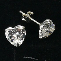 Ag zircon earrings white heart - typ002