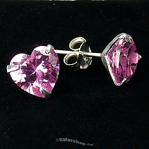 Ag zircon earrings pink heart - typ003