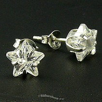 Ag zircon earrings white star - typ007