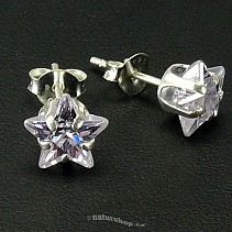 Ag zircon earrings star sv.purple - typ011