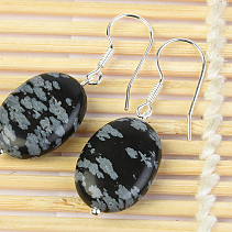 Obsidian Flocker Oval Earrings 18 x 13mm Ag Hooks