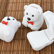 Velvet gift box white teddy bear