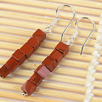 Jasper Red Cubes 4 x 4mm Ag Hooks