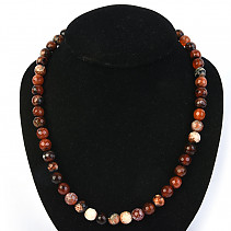 Agate fiery cut necklace of balls 10mm 53cm