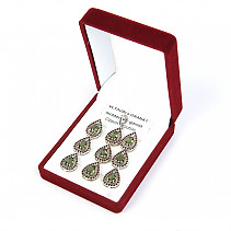 Luxury gift set of jewelry with moldavite and garnet drops Ag 925/1000 + Rh 9.65 + 4.61g