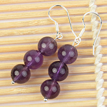 Amethyst and amethyst ball earrings 8.5mm Ag hooks