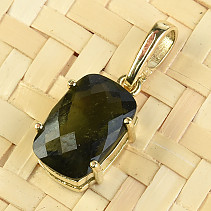Pendant moldavite rectangle checker top brus zlato Au 585/1000 14K 1.69g