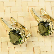 Gold earrings with moldavite rhinestone standard brus Au 585/1000 14K 4.03g