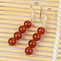 Carnelian earrings 6mm balls Ag hooks