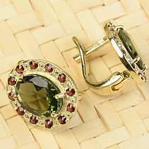 Moldavite and garnets earrings oval standard abrasive gold Au 585/1000 4.71g